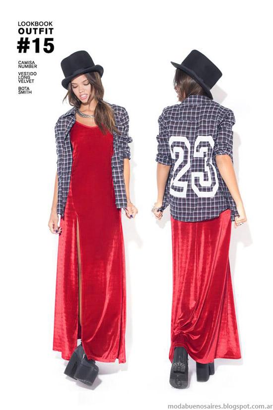 47 Street vestidos largo de terciopelo rojo moda otoño invierno 2014.