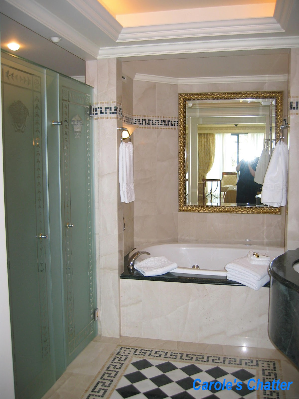 Carole 39 s chatter palazzo versace for Versace bathroom accessories