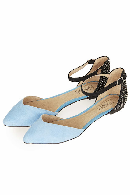 topshop black and blue flats