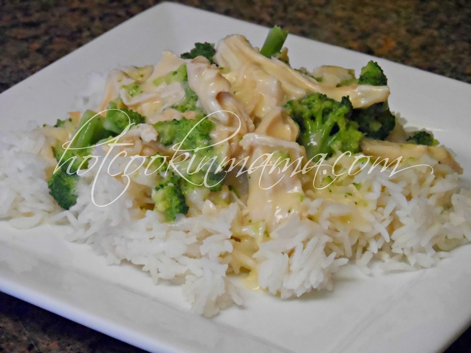 Hot Cookin' Mama: Creamy Crock Pot Chicken and Broccoli over Rice