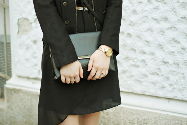 little black dress and military jacket