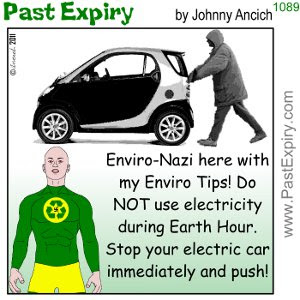 [CARTOON] Earth Hour Conundrum. cartoon, EnviroNazi, environment, cars, pollution