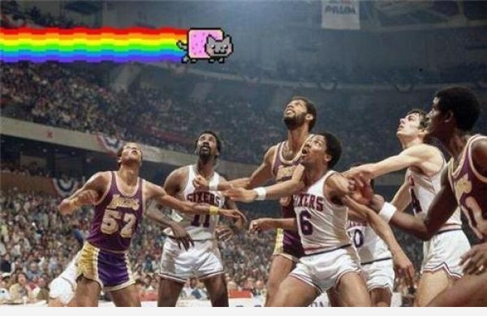 funny Guys Look Up Nyan Cat air there!