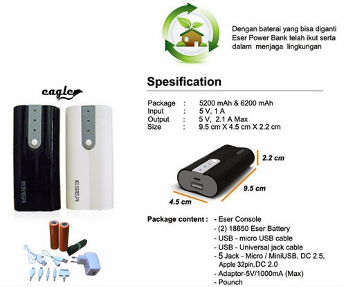 Power Bank Eser Eagle 12400 mAh