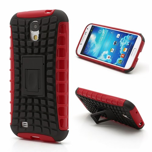 Tough Rugged TPU & PC Stand Hybrid Case for Samsung Galaxy S IV S4 i9500 i9502 i9505 - Black / Red
