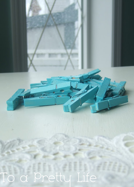 turquoise, painted, clothespins