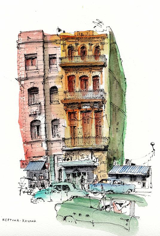 03-Cuba-Havana-Chris-Lee-Charming-Architectural-wobbly-Drawings-and-Paintings-www-designstack-co