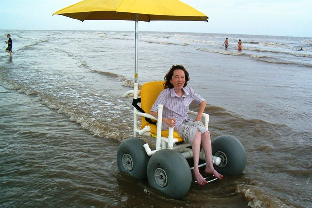 The world on wheels texas galveston island a great for Motorized beach wheelchair rental