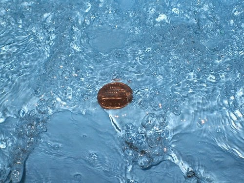 Coin in water tradition, India