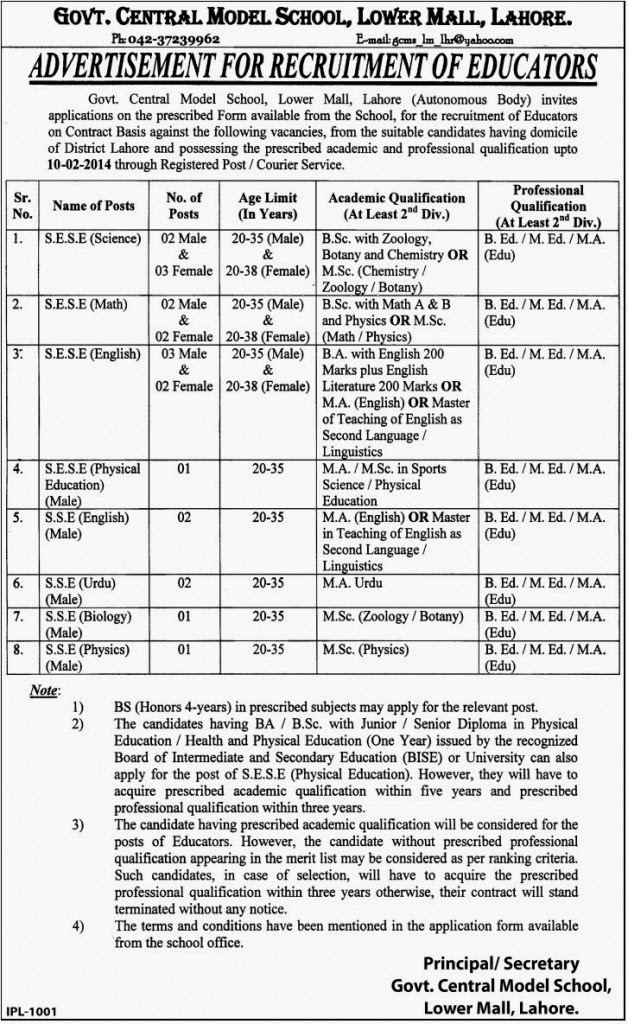 Teaching Jobs in Central Model School Lower Mall, Lahore