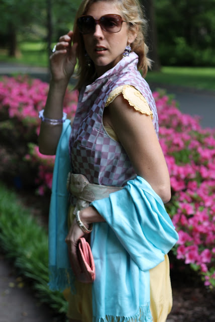 natural born thriller sunglasses by blinde, jewelmint crystal cascade earrings, belk pashmina, banana republic clutch
