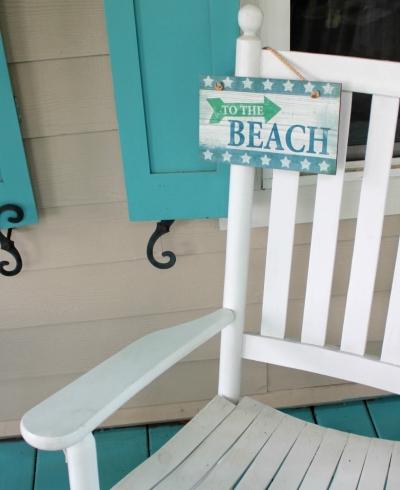 blue painted porch