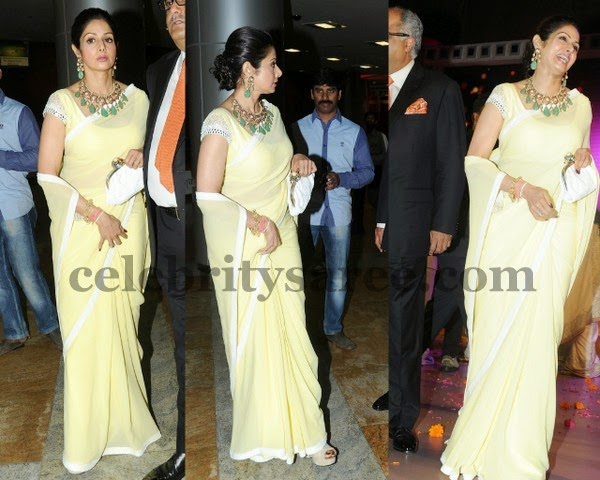 Sridevi Kapoor in Plain Fancy Saree
