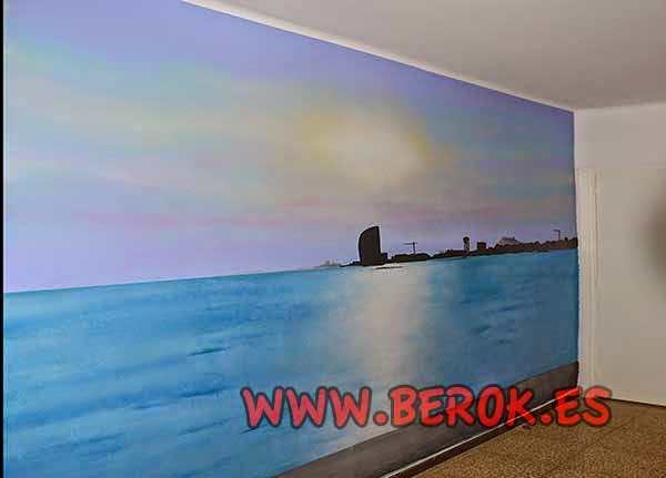 Pintura mural skyline del puerto de Barcelona