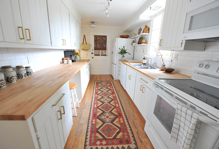 DIY Modern White Eclectic Kitchen DIY Renovation Before and After kilim rug
