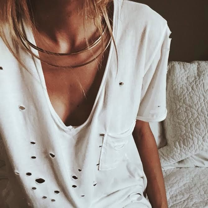 white distressed tee via ivana revic