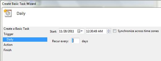 task scheduler create task daily 1 Cara Membuat Windows 7 Startup Dan Shutdown Terjadwal