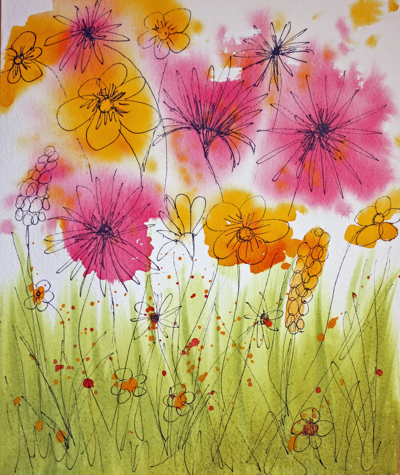 Craft and activities for all ages painting wild flowers for Easy way to paint flowers