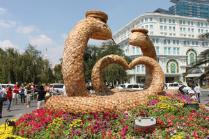 A couple of snakes at the flower festival