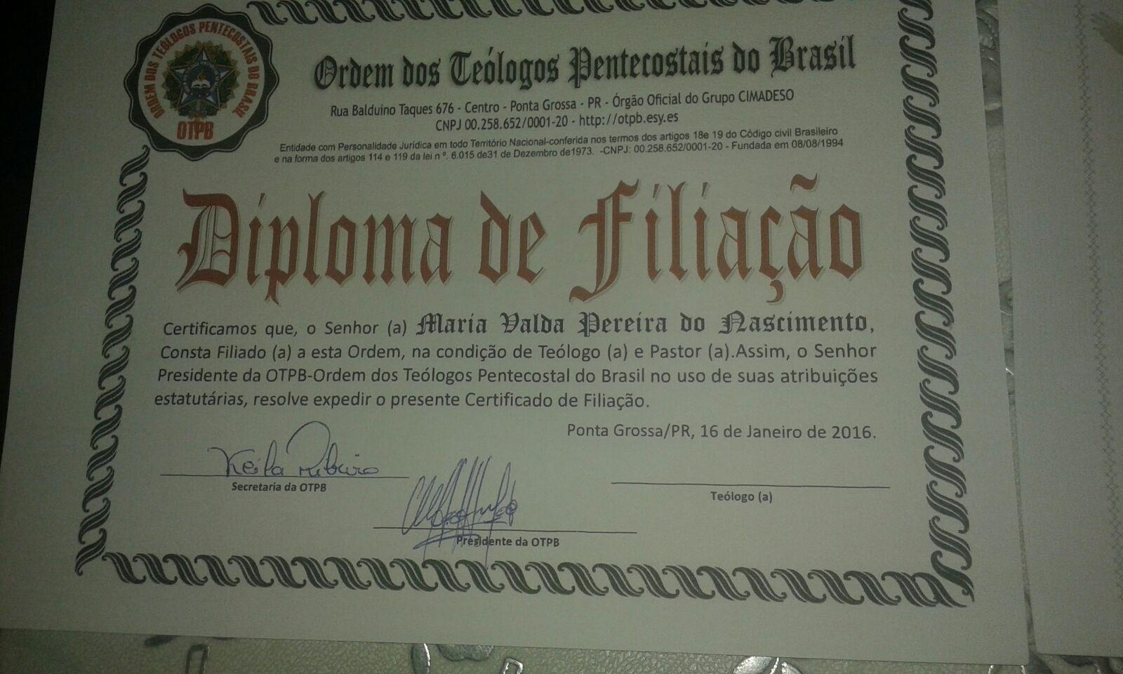 MEU DIPLOMA DE FILIAÇÃO AO OTPB