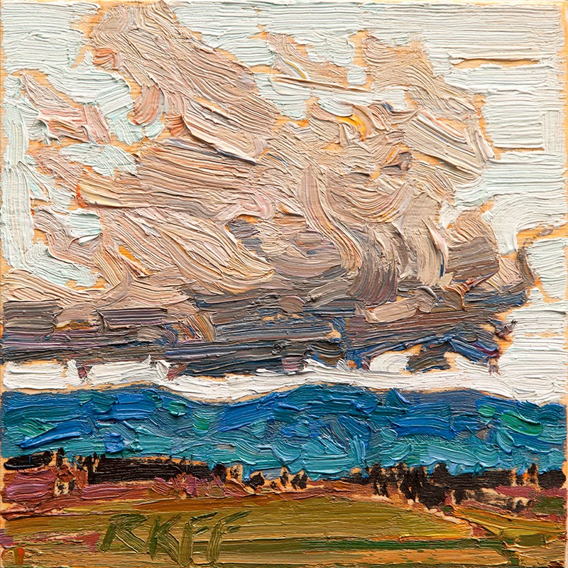 Ken Faulks:  Cloud and Field:  6x6 oil on panel