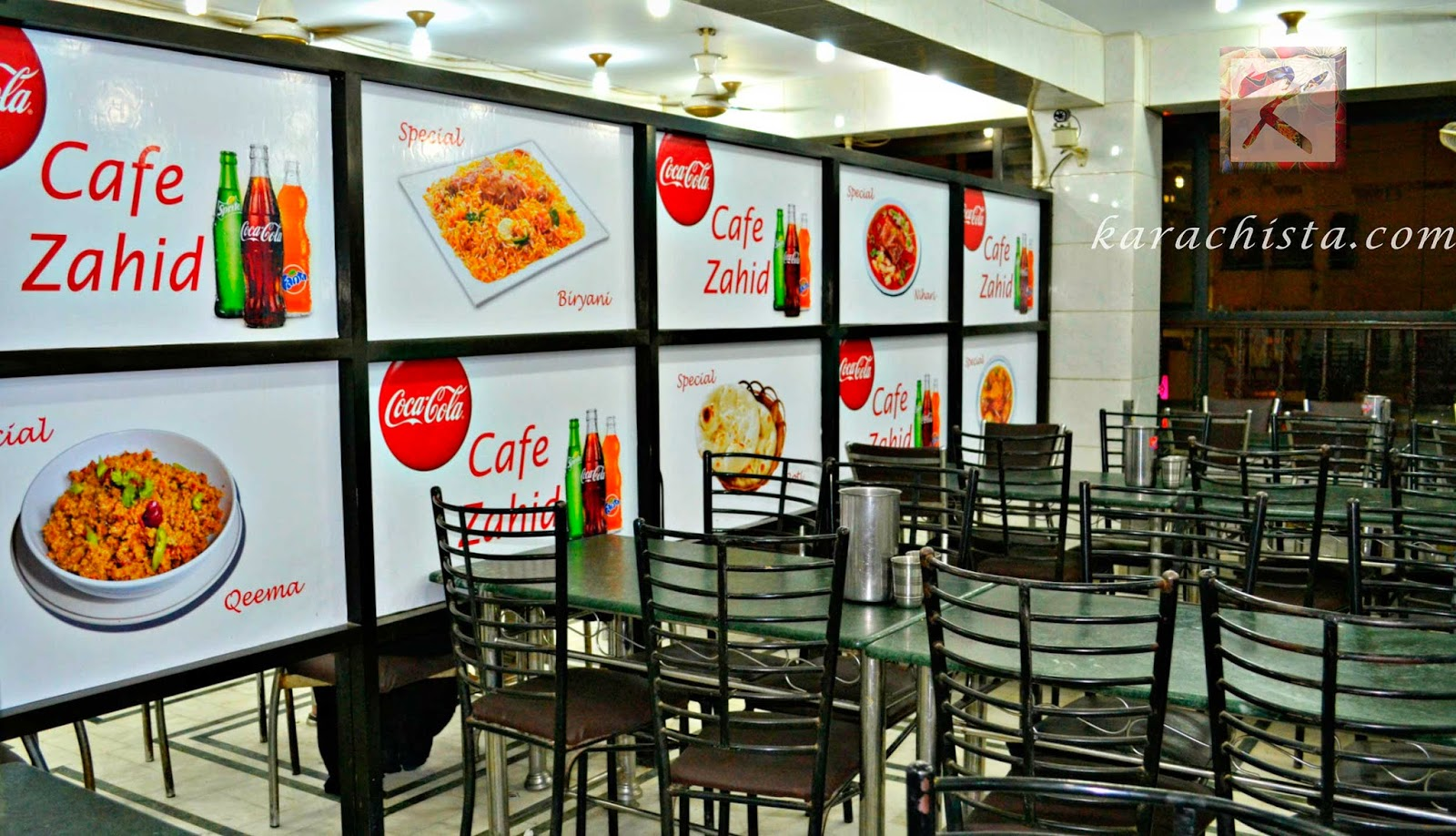 Cafeteria style seating at Zahid Nihari
