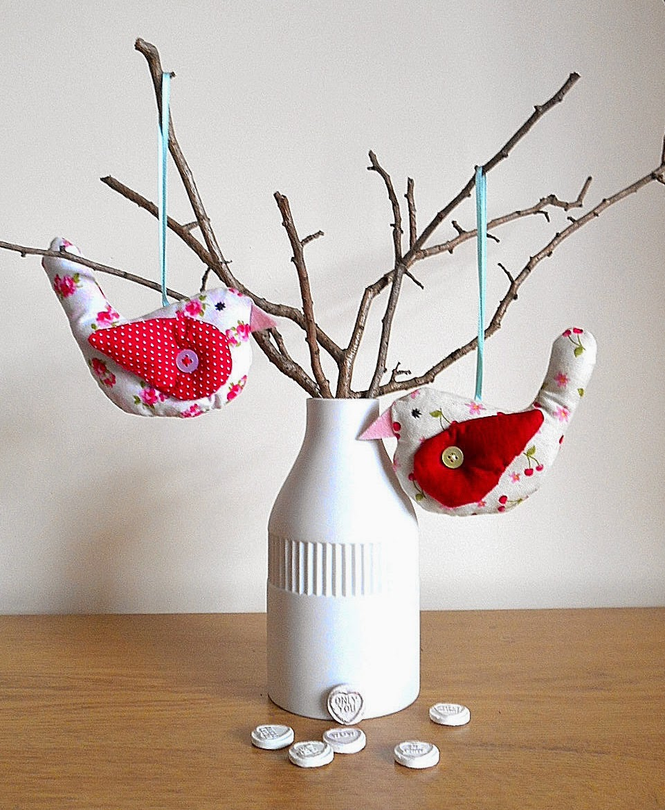 fabric bird in red