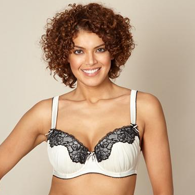 Seduction by Gorgeous Ivory Lace Trim Balcony Bra up to G cup