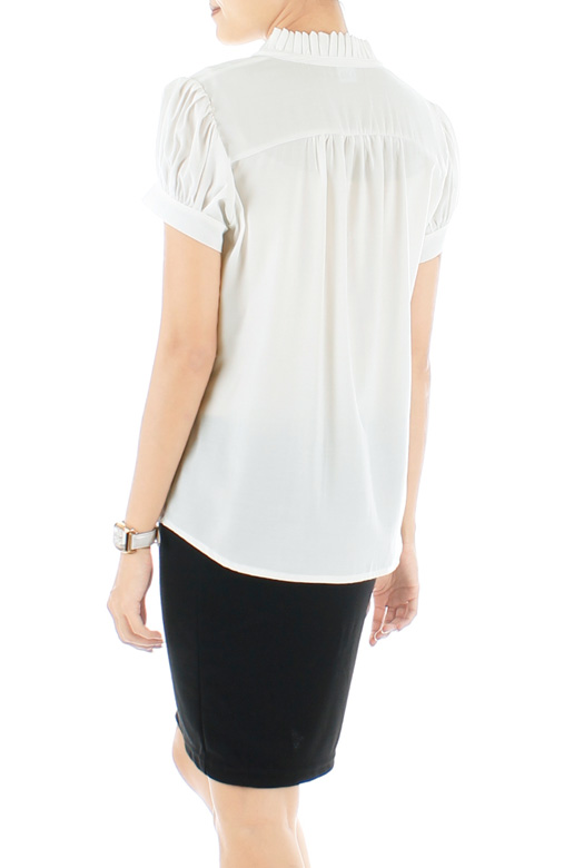 White Savvy Pleats High Neck Top