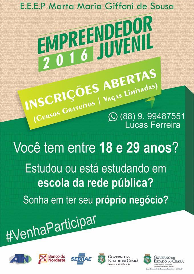 Projeto Empreendedor Juvenil: Inscrições abertas!