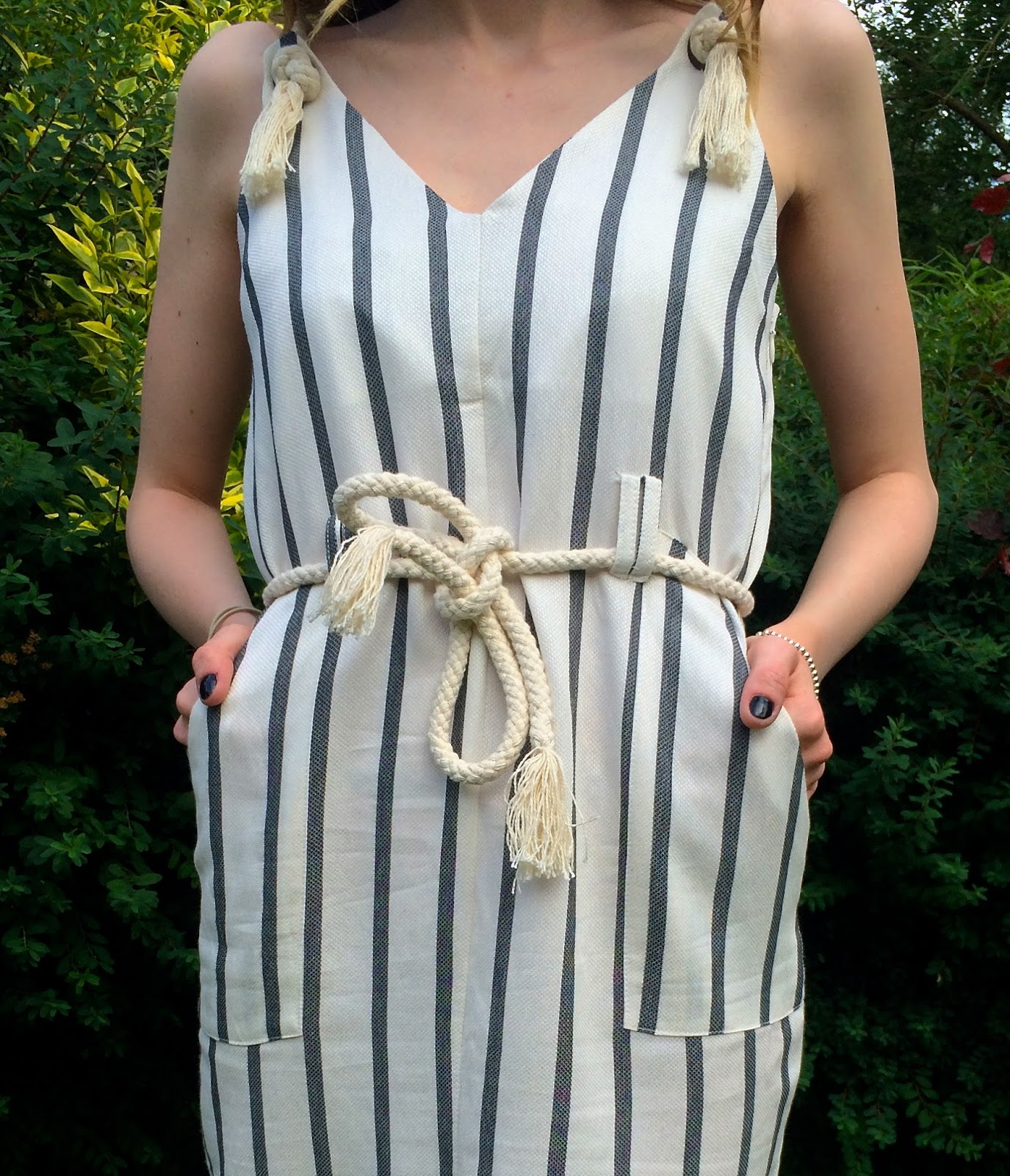 ASOS Stripe Casual Dress in Natural Fibre with Rope Detail