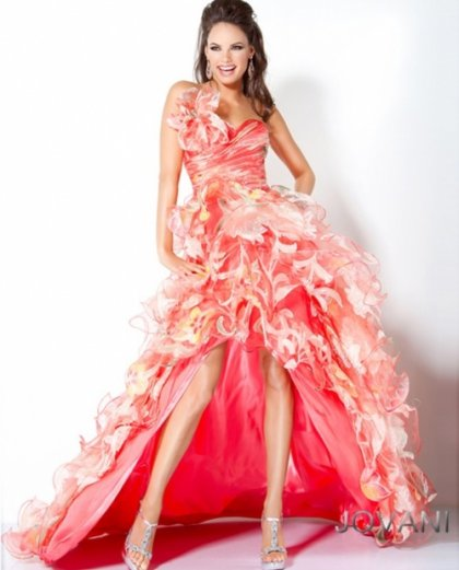 one shoulder pink-orange-jovani high low prom dress