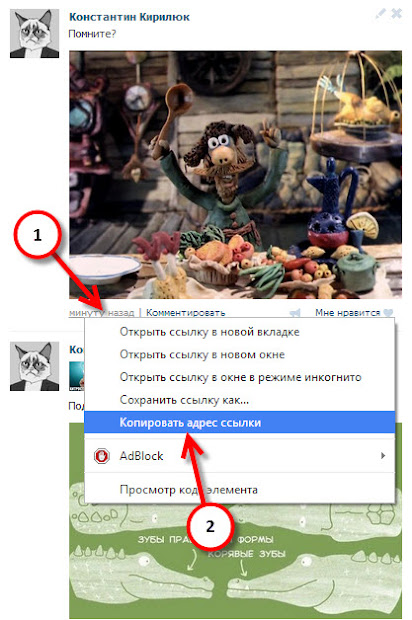 URL-адрес записи ВКонтакте на отдельной странице