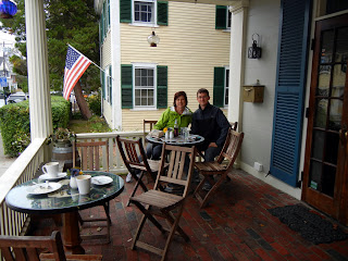 Lunch on the covered patio of Blue Blinds Bakery in Plymouth, Massachusetts