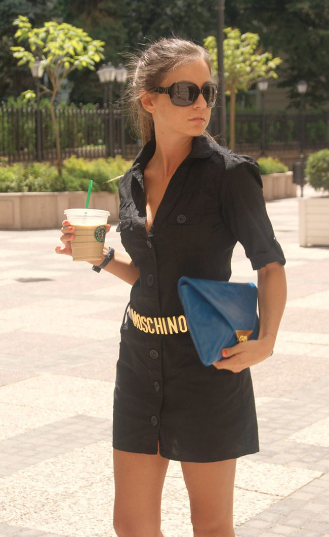 iheartmaya, guess black dress, gucci bows sunglasses, moschino gold letters belt