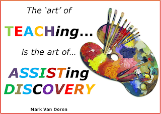 Paint brushes with a palette and quote that says the art of teaching is the art of assisting discovery.