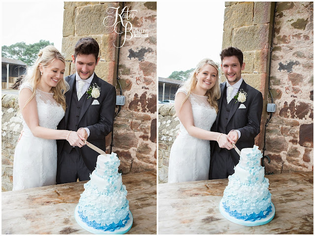 curiously wicked, blue ombre wedding cake, ombre wedding cake, rainy wedding, high house farm brewery, northumberland, high house farm wedding, katie byram photography, healey barn, newcastle wedding photographer, coco luminaire