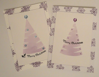 Purple Christmas cards with watercolour tree shape