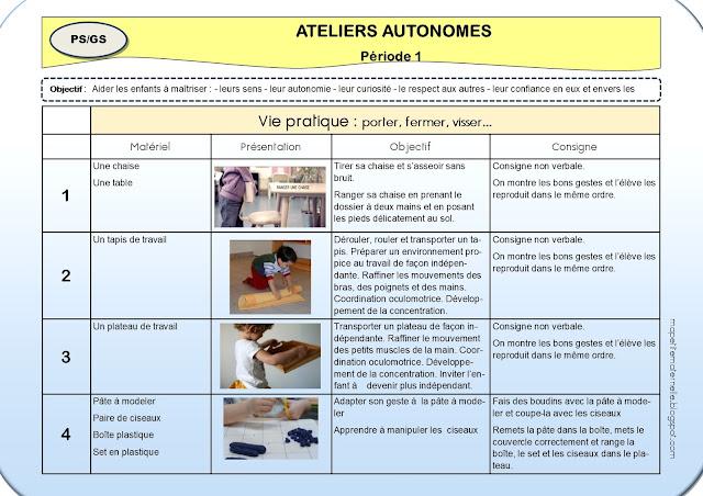 ateliers montessori maternelle période 1