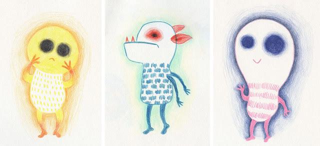 Mar Villar - Dibujos a tres colores, monstruos bombilla, monstruo dentado