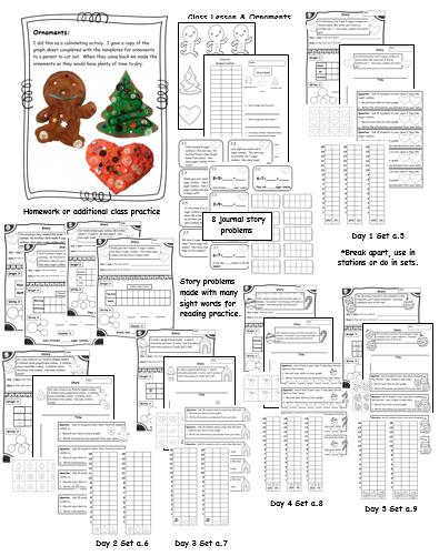 3 addend story Problems 2 Addend Story Problems Christmas Graph