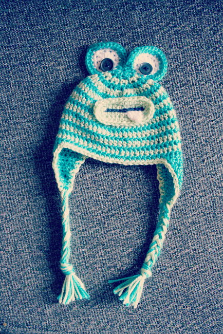 Crochet Baby Monster Hat with earflaps