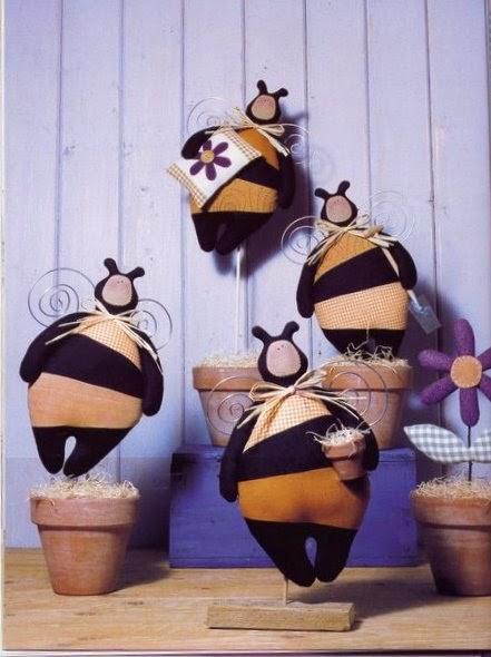 Molde abelha gordinha de tecido