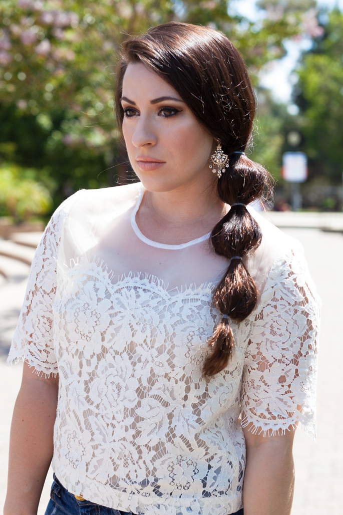 summer hair and makeup ideas, lace top