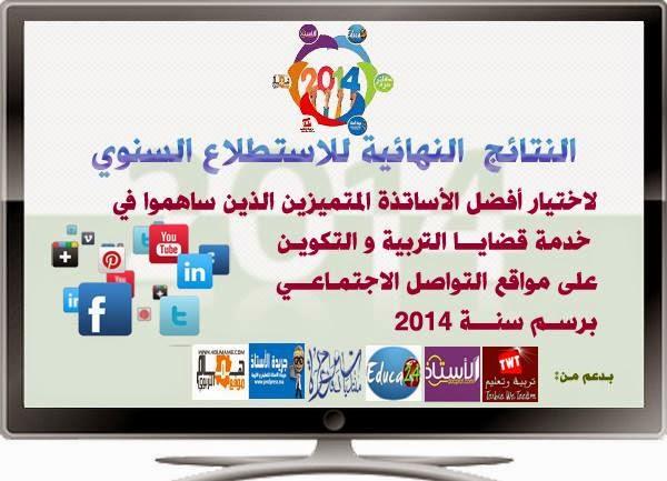 النتائج النهائية لاختيار أفضل الأساتذة المتميزين على مواقع التواصل الاجتماعي برسم 2014