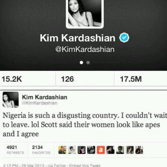 Kim Kardashain Tweets that Nigeria is digusting.