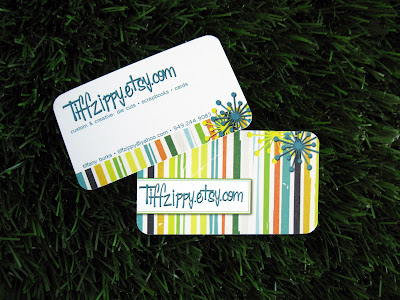 customer business cards on grass, printed by GotPrint