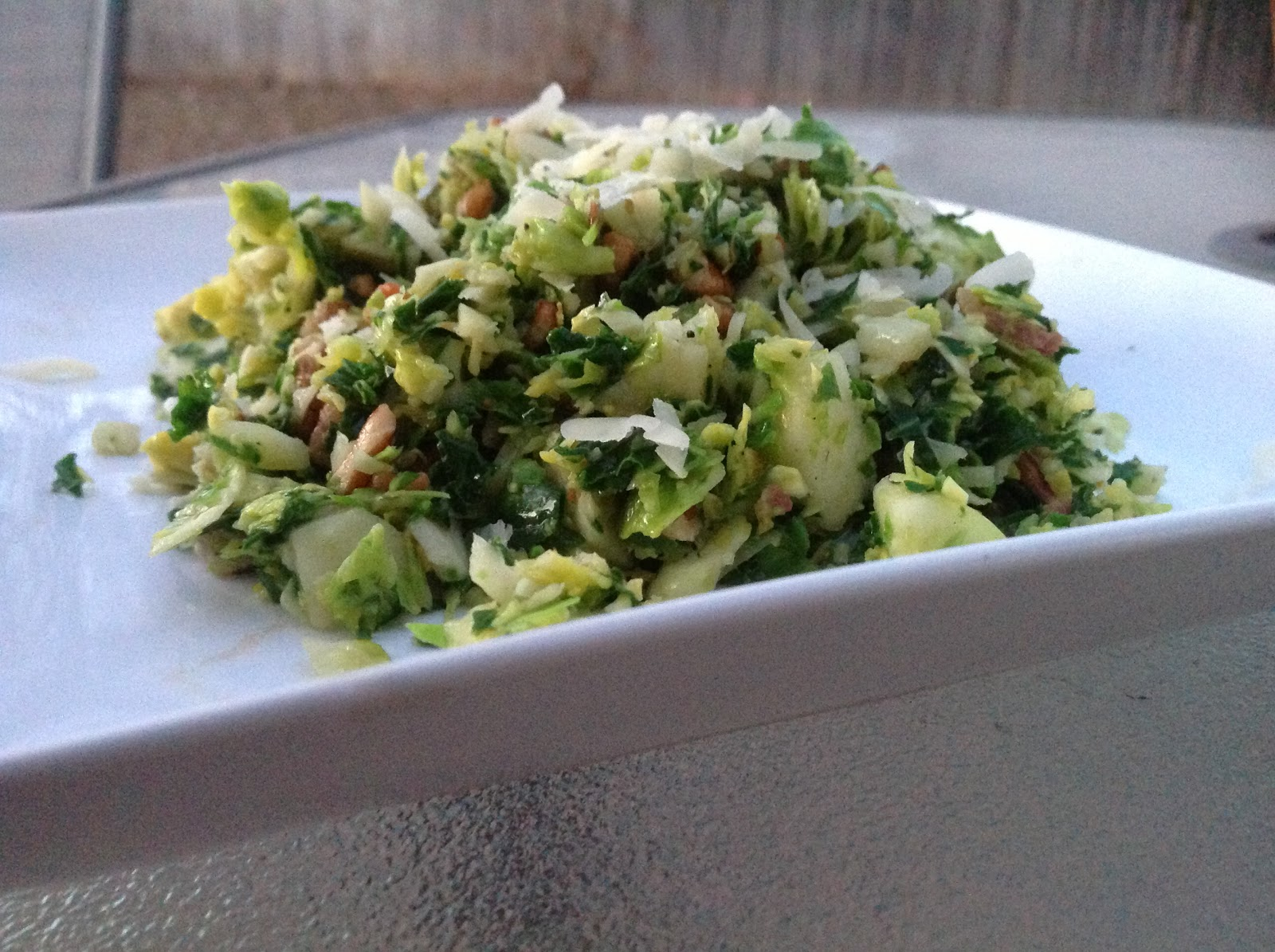 ... brussel sprout recipe by chopping the brussels sprouts and kale into