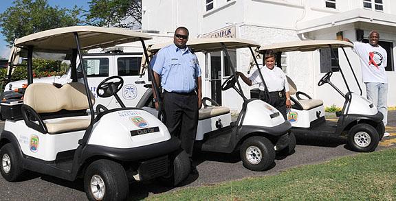 UVI Today: Golf Carts Donated by Mahogany Run Provide Improved ... on old yamaha atvs security carts, security security guards for carts, campus security carts, wired security carts, bad boy carts, motorized security carts, used ez go carts, security wire shelving carts, security carts gas, sand wheels for carts, 4x4 electric hunting carts, security laundry carts,