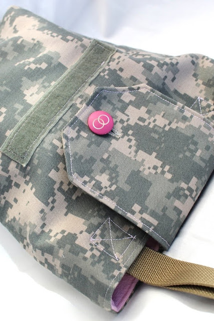 vintage button book tote ACU Army camo ladies bag pink